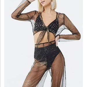 Sheer Metallic Crop Top and Pants Set
